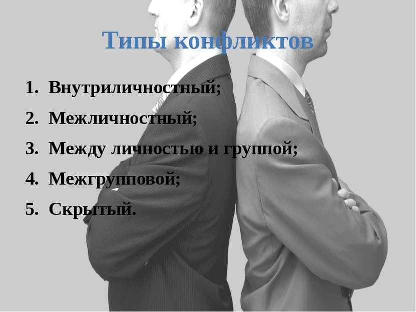 Типы конфликтов Внутриличностный; Межличностный; Между личностью и группой; М...