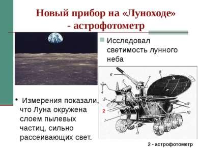 Новый прибор на «Луноходе» - астрофотометр Исследовал светимость лунного неба...
