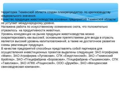 территории Тюменской области создан племрепродуктор, по кролиководству федера...