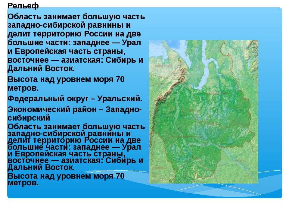 Рельеф Область занимает большую часть западно-сибирской равнины и делит терри...