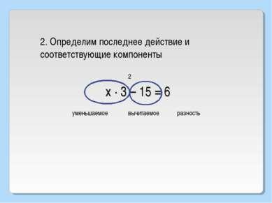 2 х · 3 – 15 = 6 2. Определим последнее действие и соответствующие компоненты...