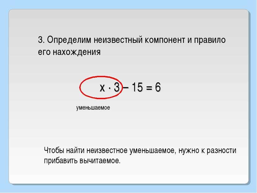 х · 3 – 15 = 6 3. Определим неизвестный компонент и правило его нахождения ум...