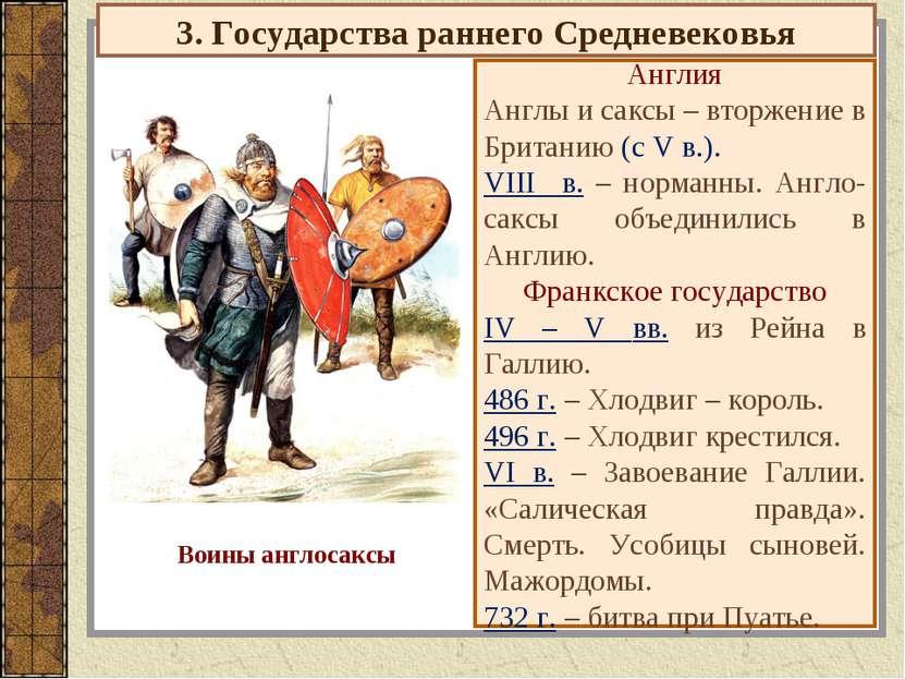 3. Государства раннего Средневековья Англия Англы и саксы – вторжение в Брита...