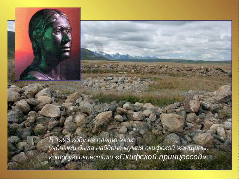 В 1993 году на плато Укок учёными была найдена мумия скифской женщины, котору...
