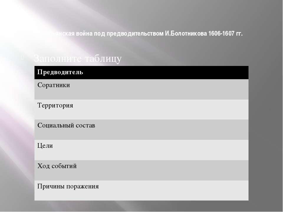 Крестьянская война под предводительством И.Болотникова 1606-1607 гг. Заполнит...