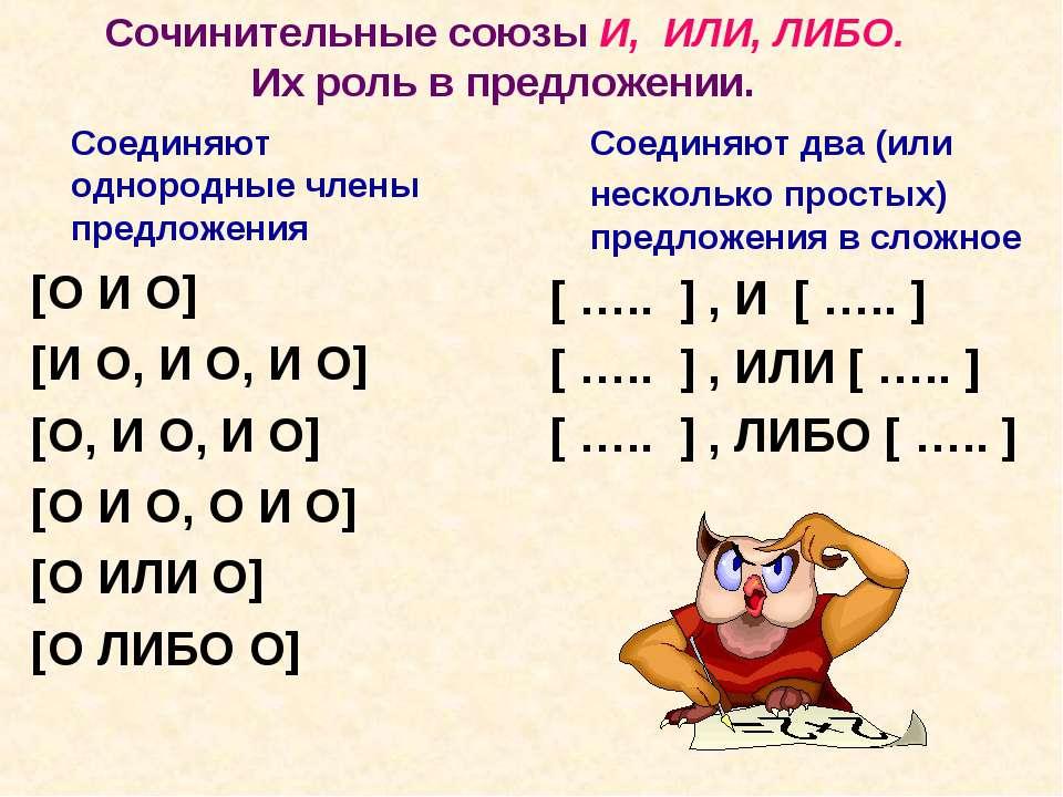 Сочинительные союзы И, ИЛИ, ЛИБО. Их роль в предложении. Соединяют однородные...