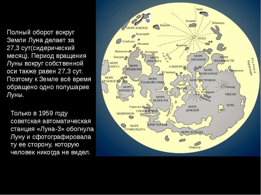 Полный оборот вокруг Земли Луна делает за 27,3сут(сидерический месяц). Перио...