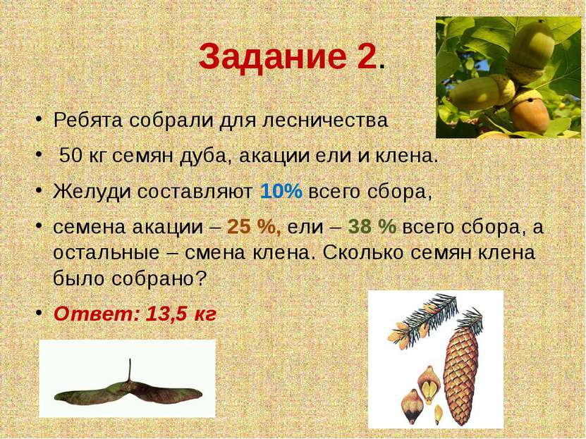 Задание 2. Ребята собрали для лесничества 50 кг семян дуба, акации ели и клен...