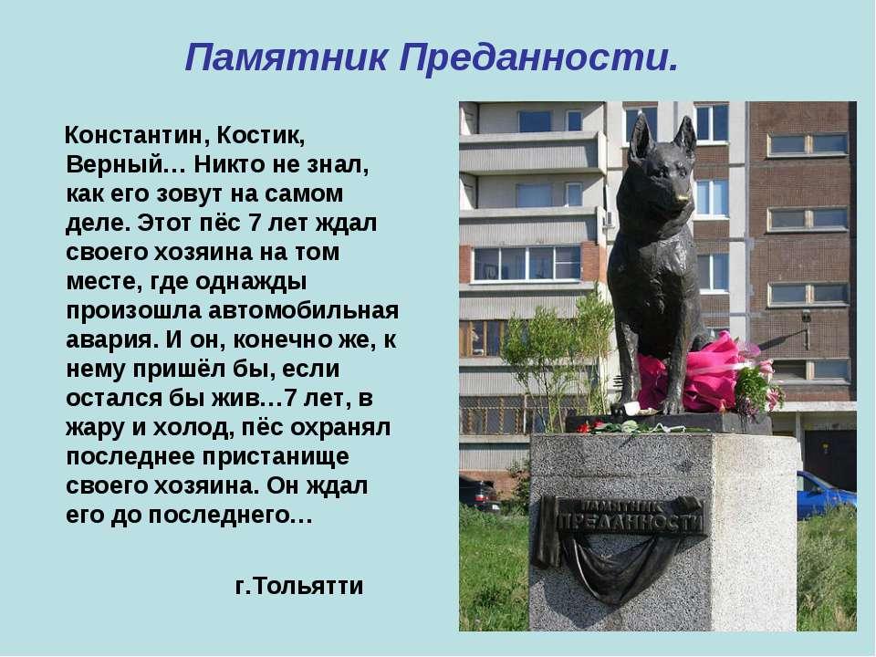 Памятник Преданности. Константин, Костик, Верный… Никто не знал, как его зову...
