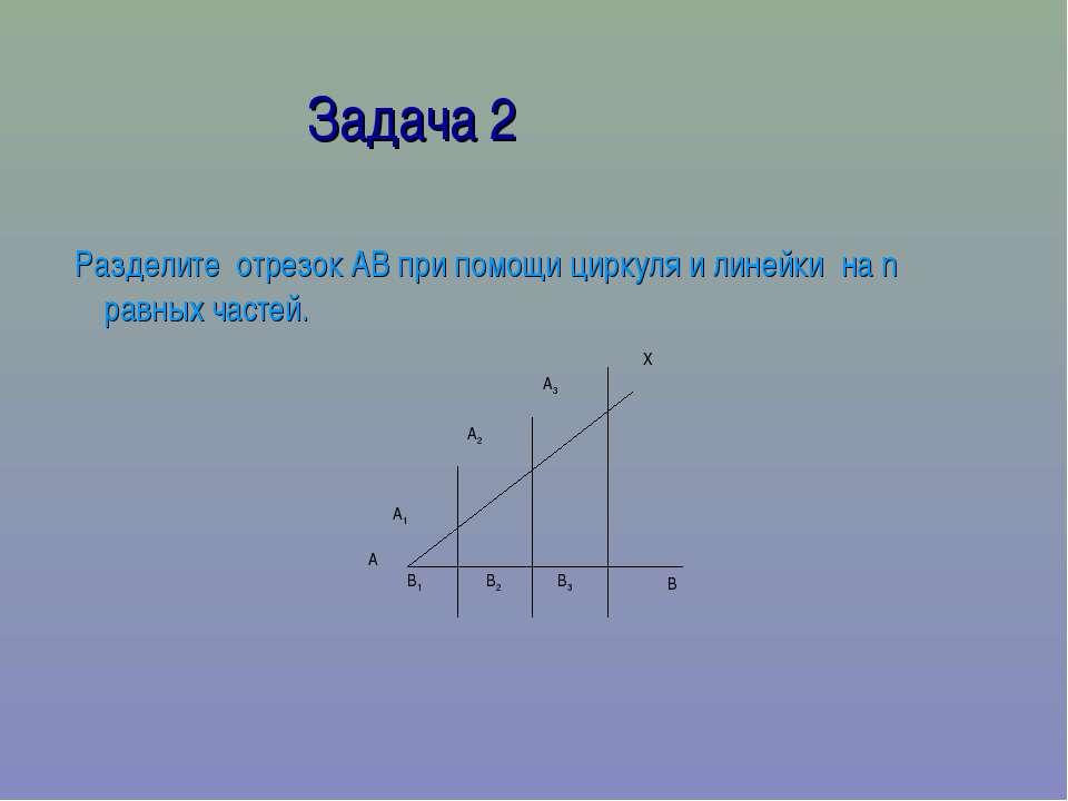 Задача 2 Разделите отрезок АВ при помощи циркуля и линейки на n равных частей.