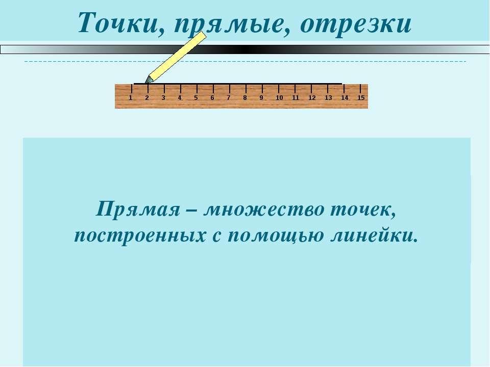 Точки, прямые, отрезки Прямая – множество точек, построенных с помощью линейк...