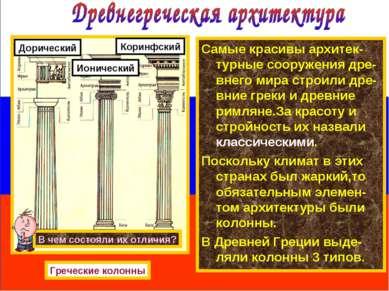 Самые красивы архитек-турные сооружения дре-внего мира строили дре-вние греки...