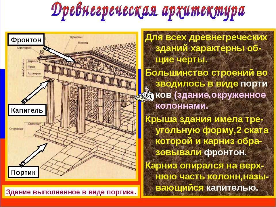 Для всех древнегреческих зданий характерны об-щие черты. Большинство строений...