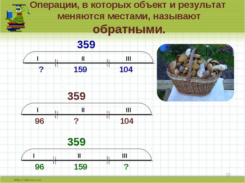 Операции, в которых объект и результат меняются местами, называют обратными. ...