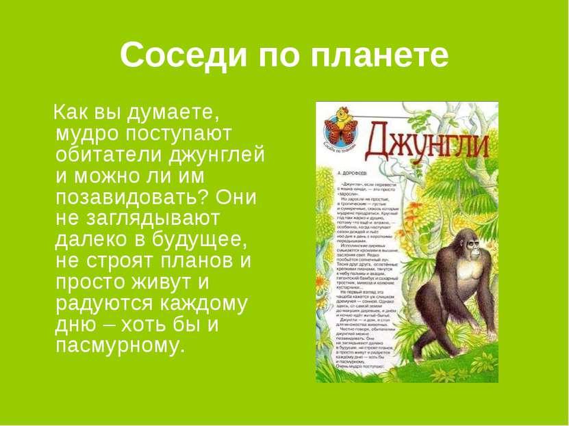 Соседи по планете Как вы думаете, мудро поступают обитатели джунглей и можно ...