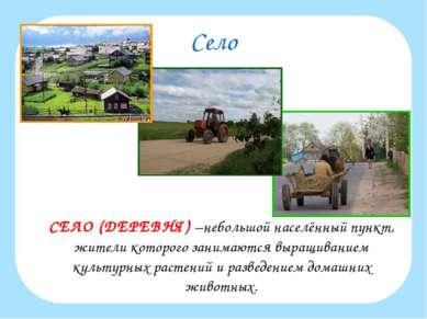 Село СЕЛО (ДЕРЕВНЯ) –небольшой населённый пункт, жители которого занимаются в...