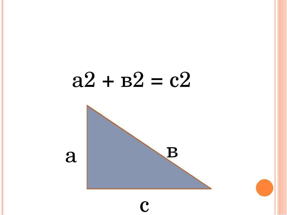 Теорема Пифагора а2 + в2 = с2 а в с