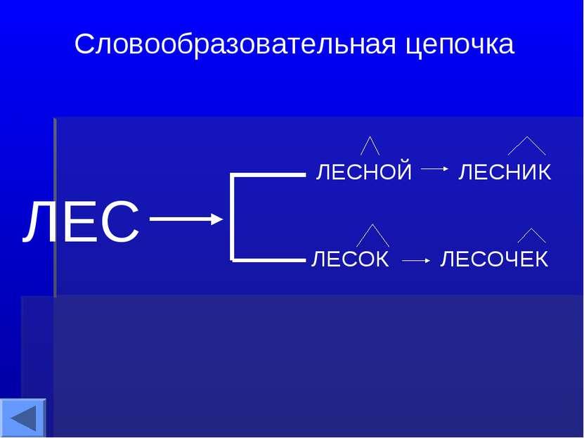 ЛЕС Словообразовательная цепочка ЛЕСНОЙ ЛЕСНИК ЛЕСОК ЛЕСОЧЕК