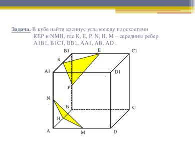 Задача. В кубе найти косинус угла между плоскостями КЕР и NМН, где К, Е, Р, N...