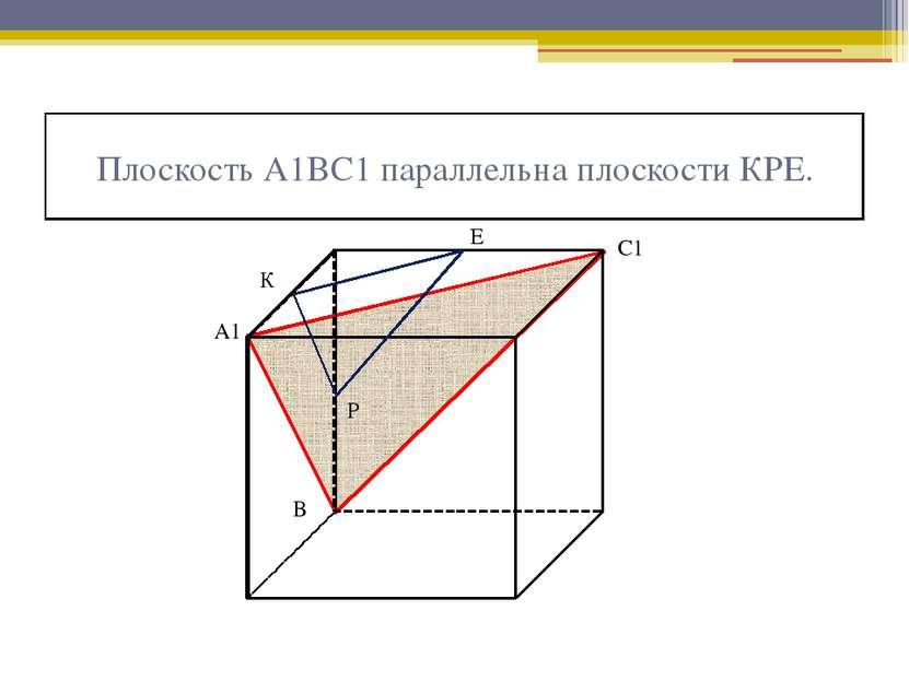 Плоскость А1ВС1 параллельна плоскости КРЕ. К Е Р А1 В С1