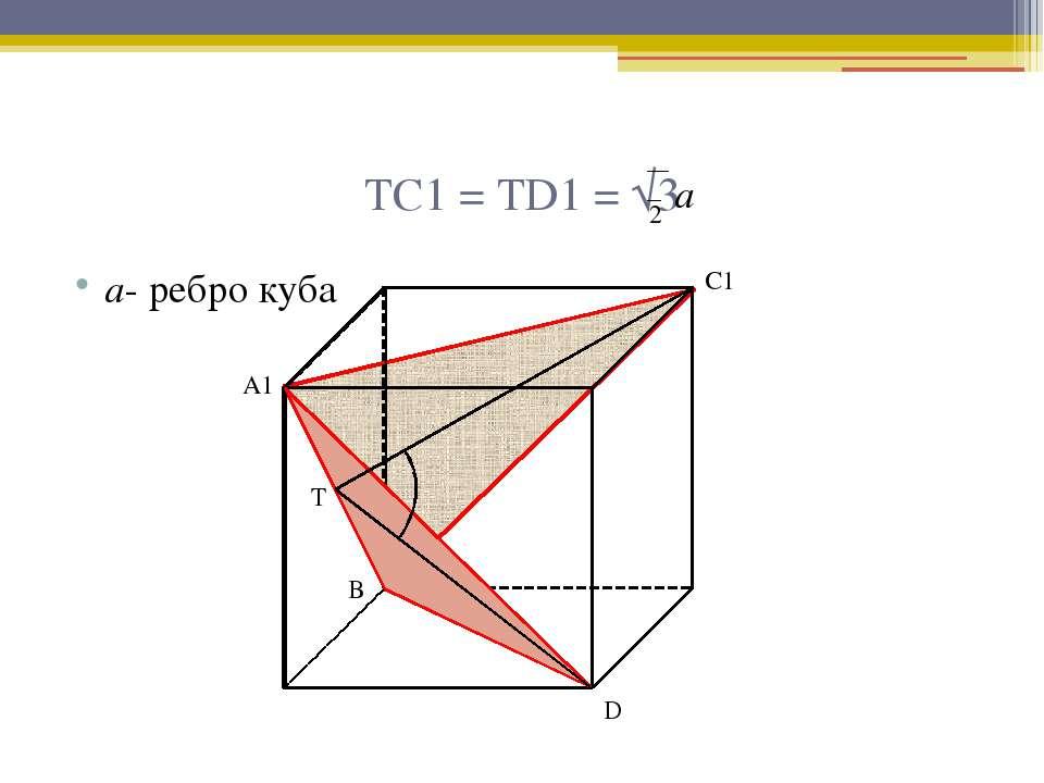 ТС1 = ТD1 = √3 а- ребро куба А1 С1 Т D В 2 а