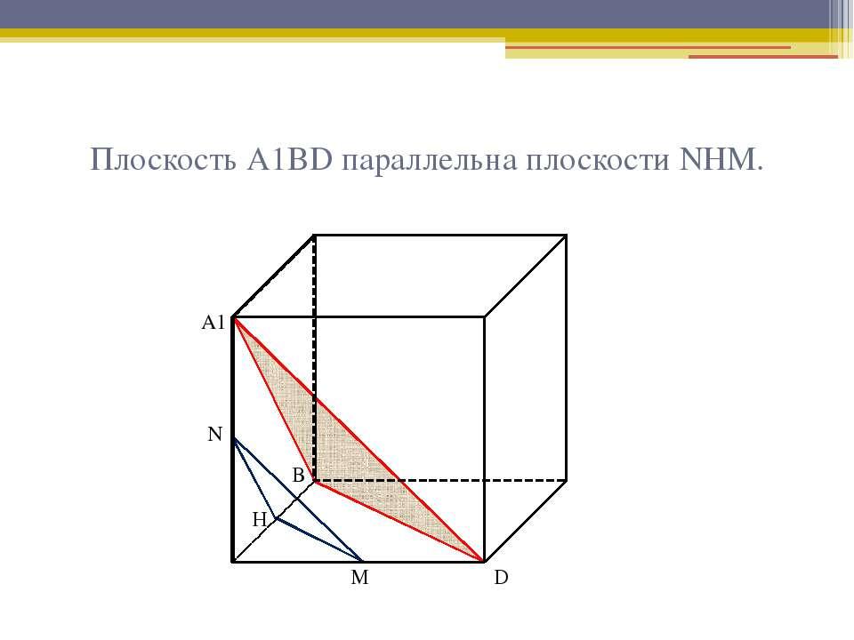 Плоскость А1ВD параллельна плоскости NНМ. А1 В D Н М N
