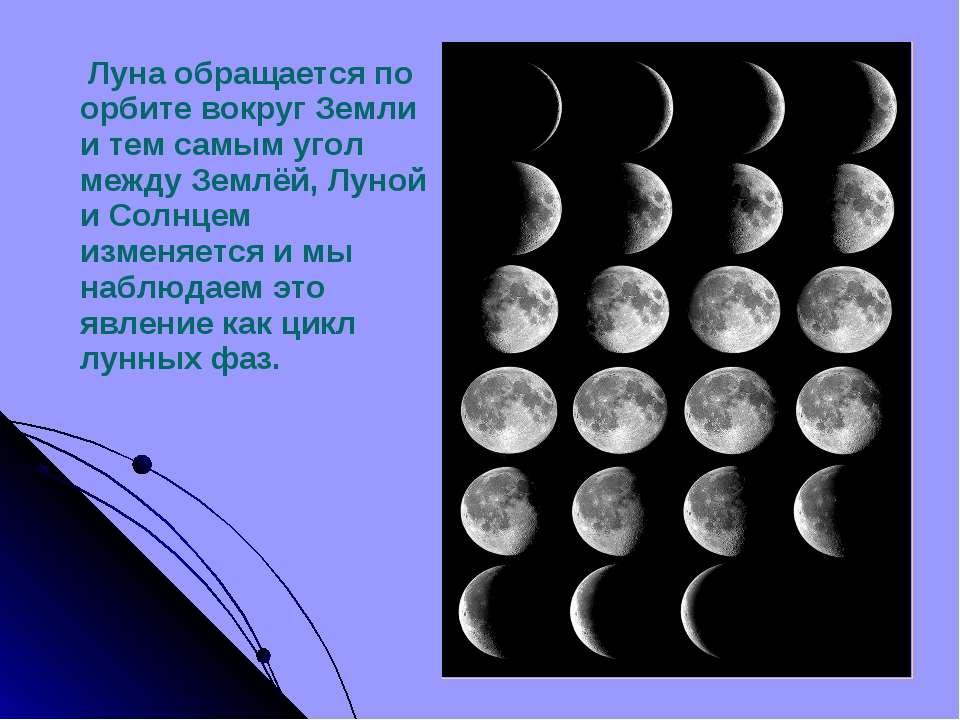 Луна обращается по орбите вокруг Земли и тем самым угол между Землёй, Луной и...