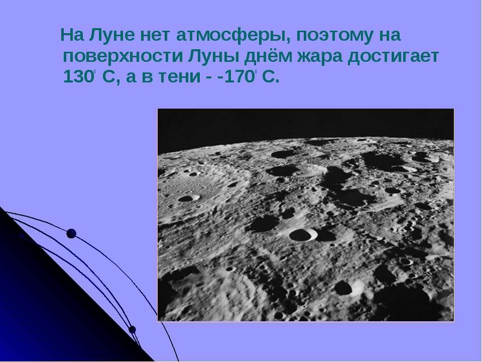 На Луне нет атмосферы, поэтому на поверхности Луны днём жара достигает 1300 С...