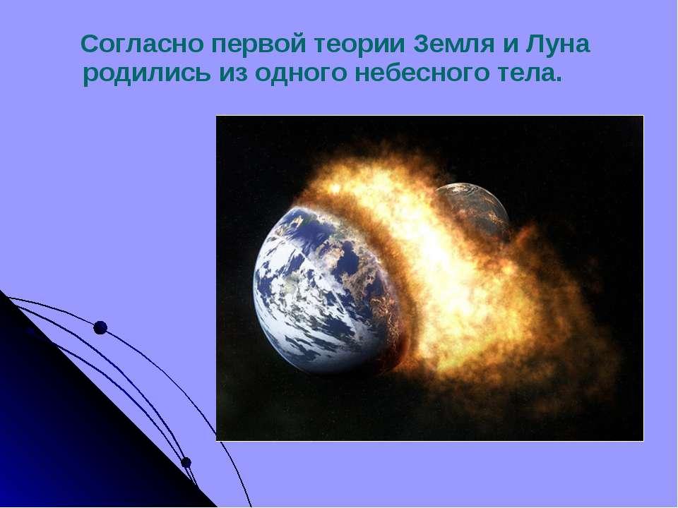Согласно первой теории Земля и Луна родились из одного небесного тела.