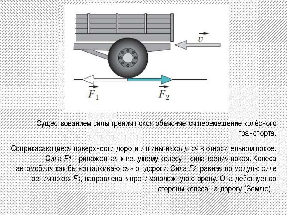 Существованием силы трения покоя объясняется перемещение колёсного транспорта...