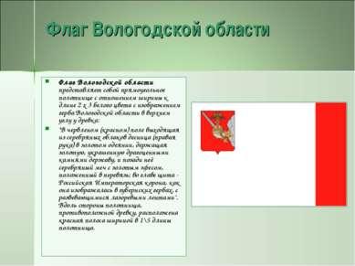 Флаг Вологодской области Флаг Вологодской области представляет собой прямоуго...