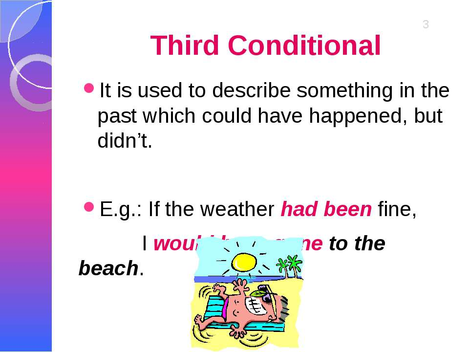 Third Conditional It is used to describe something in the past which could ha...