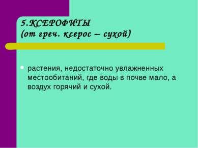 5.КСЕРОФИТЫ (от греч. ксерос – сухой) растения, недостаточно увлажненных мест...