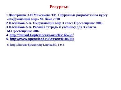 Ресурсы: 1.Дмитриева О.И.Максакова Т.В. Поурочные разработки по курсу «Окружа...
