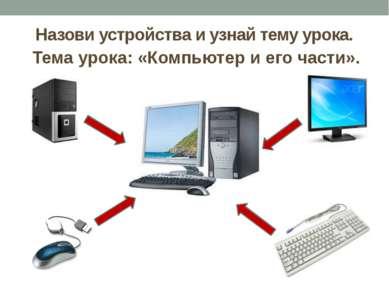 Назови устройства и узнай тему урока. Тема урока: «Компьютер и его части».