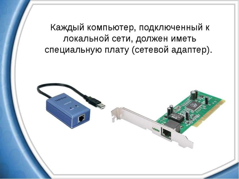 Каждый компьютер, подключенный к локальной сети, должен иметь специальную пла...