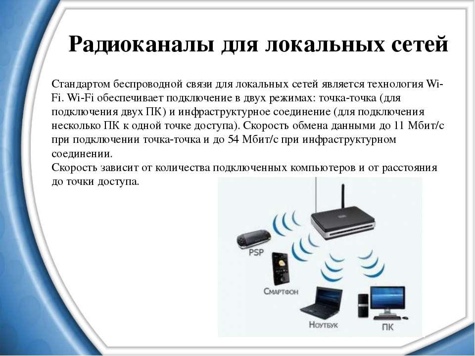Радиоканалы для локальных сетей Стандартом беспроводной связи для локальных с...