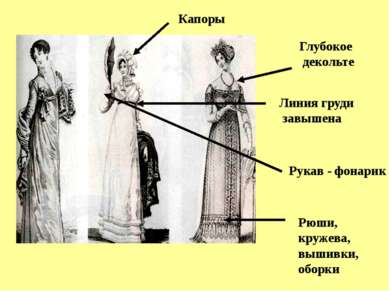 Линия груди завышена Глубокое декольте Рукав - фонарик Рюши, кружева, вышивки...