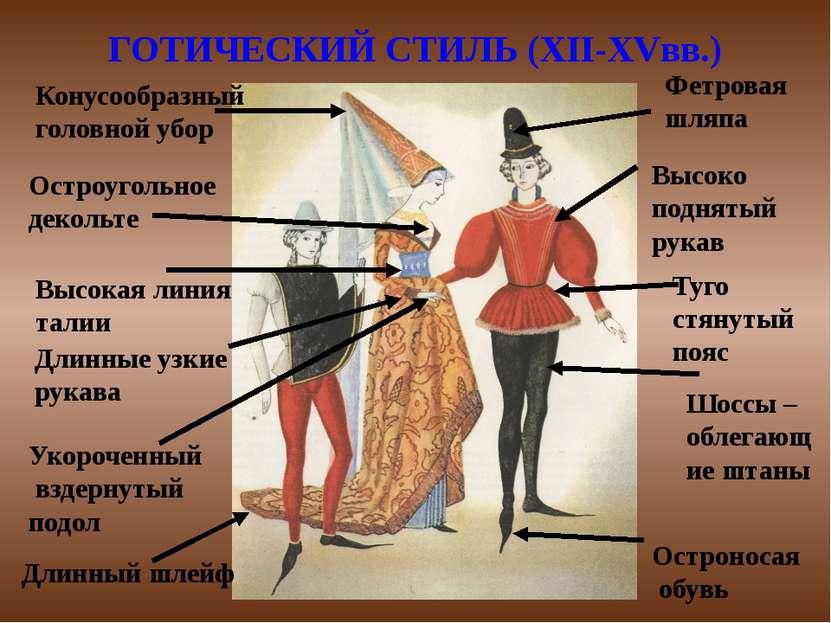 ГОТИЧЕСКИЙ СТИЛЬ (XII-XVвв.) Высоко поднятый рукав Туго стянутый пояс Шоссы –...