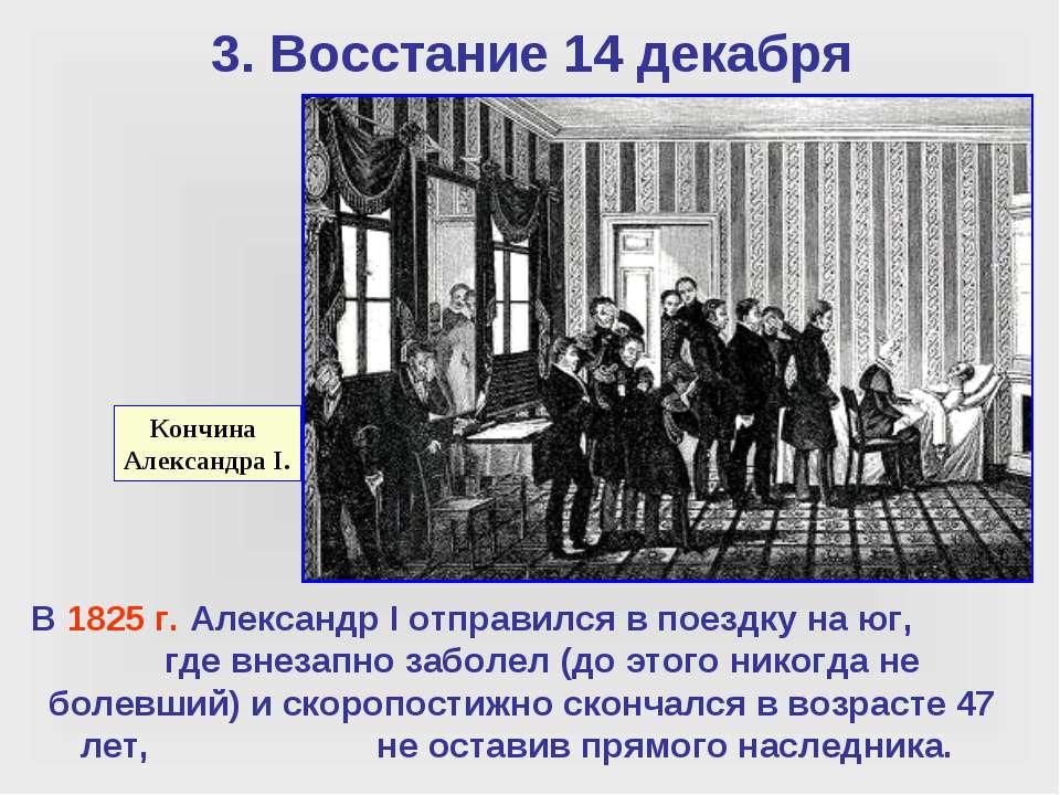 3. Восстание 14 декабря Кончина Александра I. В 1825 г. Александр I отправилс...