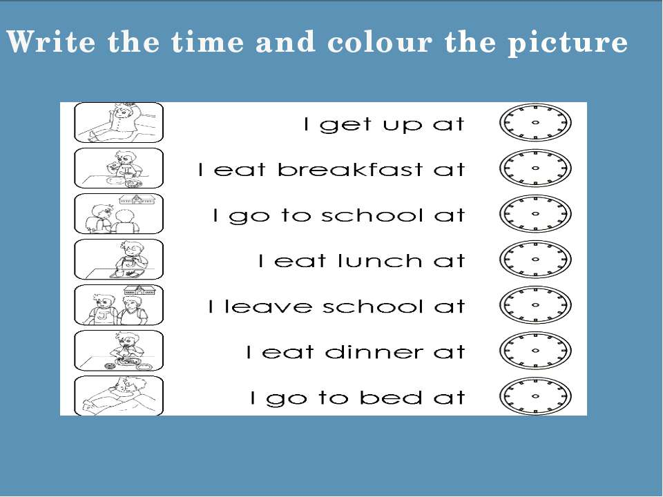 Write the time and colour the picture