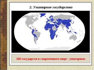2. Унитарное государство 166 государств в современном мире - унитарные
