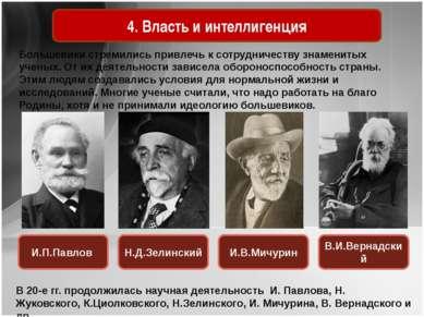 4. Власть и интеллигенция Большевики стремились привлечь к сотрудничеству зна...