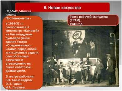 6. Новое искусство Театр рабочей молодежи (ТРАМ). 1930 год. Первый рабочий те...