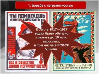 Советские агитационные плакаты 1920-х гг. 1. Борьба с неграмотностью Всего в ...
