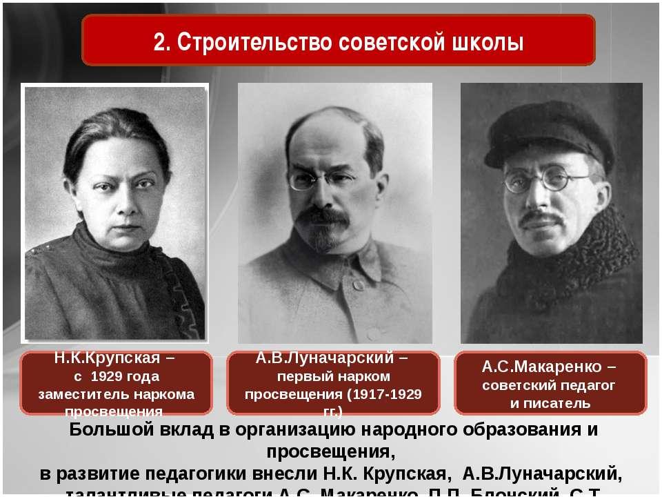 2. Строительство советской школы Большой вклад в организацию народного образо...