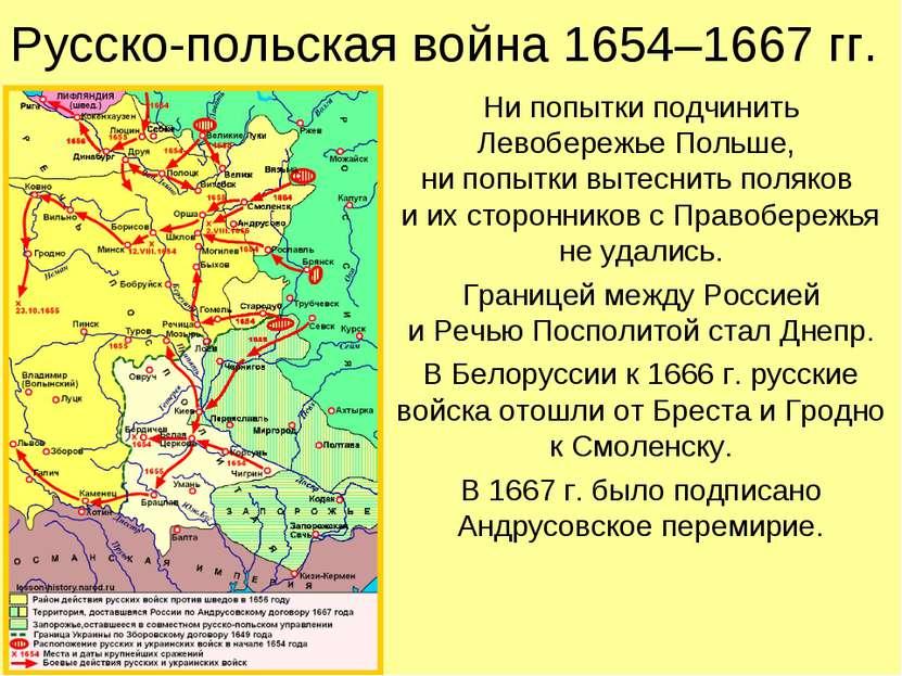 Русско-польская война 1654–1667 гг. Ни попытки подчинить Левобережье Польше, ...