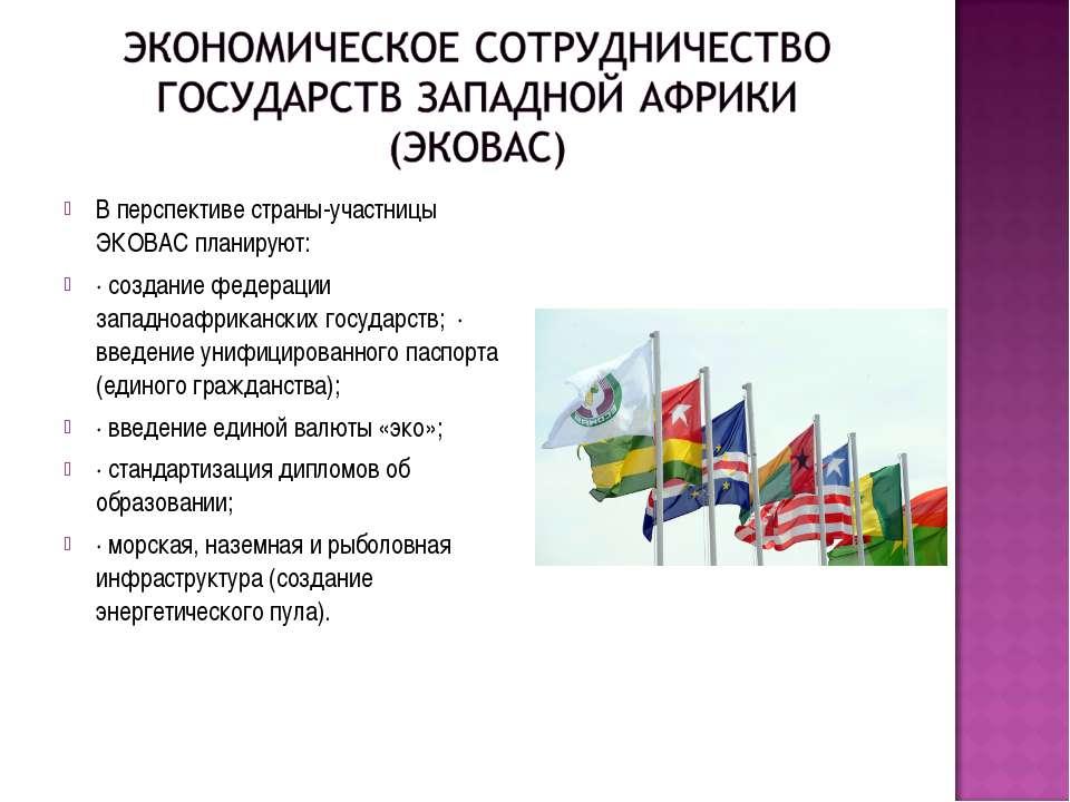 В перспективе страны-участницы ЭКОВАС планируют: · создание федерации западно...