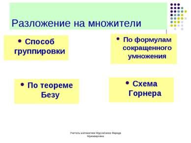 Учитель математики Мурзабаева Фарида Мужавировна Разложение на множители Спос...