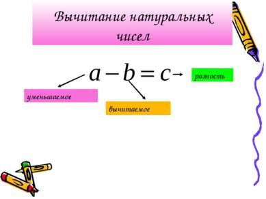 Вычитание натуральных чисел уменьшаемое вычитаемое разность